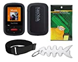 Black Soft Skin Case + Screen Protector + Armband + Smart Cord Wrap for SanDisk (SDMX24) Clip Sport 4GB 8GB MP3 Player