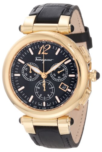 Ferragamo Women's F77LCQ5009 SB09 Idillio Gold Ion-Plated Black Dial Leather Chronograph Watch