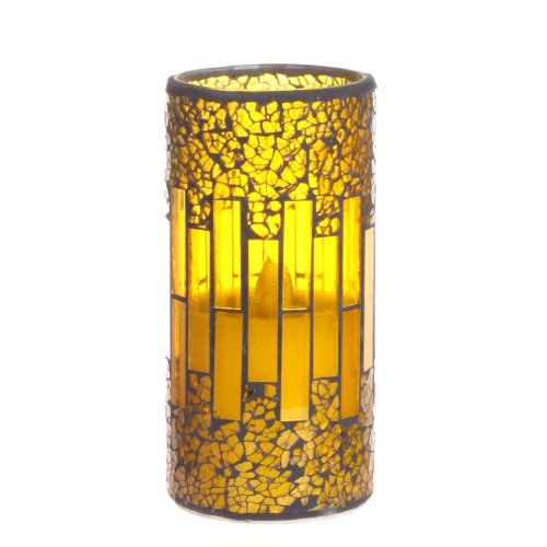 Dfl 3*6 Inch Yellow Mosaic Glass With Flameless Led Candle With Timer,Work With 2 C Battery