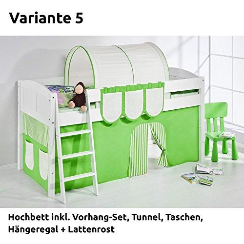 Hochbett Spielbett IDA Grün Beige, mit Vorhang, weiß, Variante 5