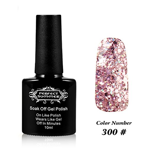 Perfect Summer UV LED Soak Off Gel Nail Polish 10ml Nail Lacquer, Shiny Snowflake Color #300 Glitter Pink (Sation Glitter Nail Polish compare prices)