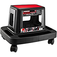 Powerbuilt 620526 Sturdy HD Injection Rolling Storage Tray Work Seat (Black & Red)