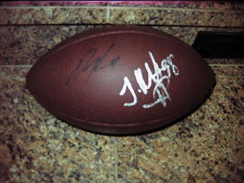 * TJ WARD / AQIB TALIB * Denver Broncos 2015 signed NFL football / UACC Registered Dealer # 212