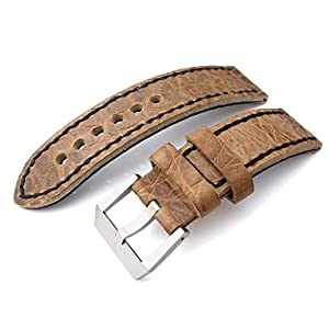 24mm CrocoCalf Honey Brown Watch Strap with Black Stitches, Screw-in Buckle