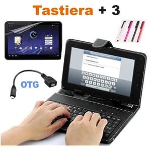 Tastiera per Tablet Android 7 con Custodia + Cavetto OTG + Pellicola Protettiva Touch + Pennino capacitivo di CS Elettroingros