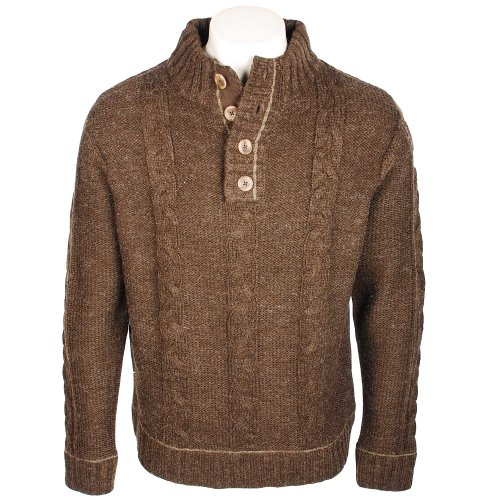 Harbour Bay Mens Chocolate Wool Mix Chunky Cable Knit Button Neck Jumper in Size 3XL