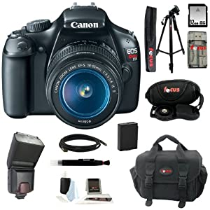 Canon EOS Rebel T3 12.2MP DSLR Camera & 18-55MM IS II Lens (Black) + Zoom TTL Flash Gun for Canon E-TTL II + 32GB SDHC Memory Card + All in One High Speed Card Reader + Soft Shell Camera Gadget Bag + Replacement Lithium-ion Battery + Deluxe Accessory Kit
