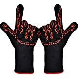 ETmate BBQ Grilling Cooking Gloves - 932°F Extreme Heat Resistant Gloves-Set of 2 Kitchen Gloves-Five Fingers Heat proof Oven Gloves Set - 1 Pair (Long)