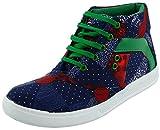 Good Luck Footwear Men's Blue & Green Canvas High Top Shoes - 6 UK