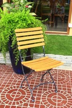 Klappstuhl Gartenstuhl Kaffeehausstuhl 2er Set Stahl Eukalyptus FSC-Holz