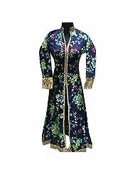 Printed Navy Blue Raw Silk Designer Party Wear Kurti Semi Stitched