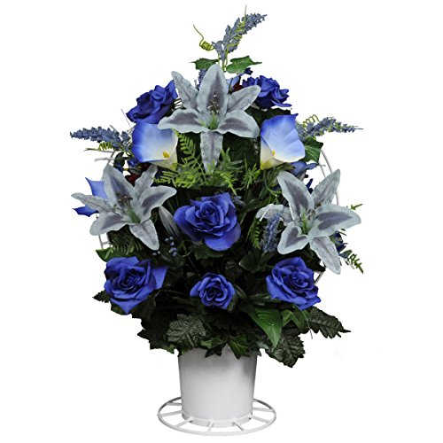 Blue Open Roses with Stargazer Lilies Silk Flower Basket by Sympathy Silks® (BA1564) (Funeral Flowers With Basket Stand compare prices)