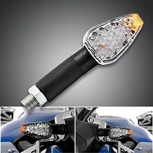 2x Motorcycle Black Arrow Side Visible 15 Amber LED Turn Signal Light Blinker Indicator Side Marker 10mm For Racing Sport Street Standard Naked Bike Cruiser Chopper Touring