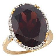14K Yellow Gold Natural Garnet Ring L…
