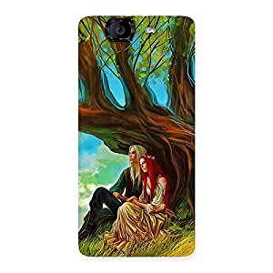 Couple Under Tree Multicolor Back Case Cover for Canvas Knight A350
