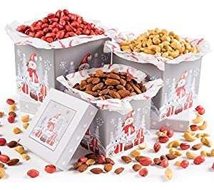 Let It Snow, Gourmet Merry Christmas, Holiday Roasted Salted Savory Red Pistachios, Cashews, Almonds, Nuts Gift Grey 3 Tier Tower, Holiday Gift Basket For Men And Women of All Ages, By Pistachio Gifts®