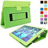 Snugg iPad 3 & 4 Case - Smart Cover with Flip Stand & Lifetime Guarantee (Green Leather) for Apple iPad 3 and 4