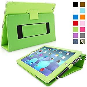 Snugg iPad 4 & iPad 3 Executive Leather Case in Green - Flip Stand Cover with Card Slots, Pocket, Elastic Hand Strap and Premium Nubuck Fibre Interior - Automatically Wakes and Puts the Apple iPad 4 & 3 to Sleep