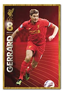 Liverpool FC Steven Gerrard Season 12/13 Poster Cork Pin Memo Board Oak Framed - 96.5 x 66 cms (Approx 38 x 26 inches) from iPosters