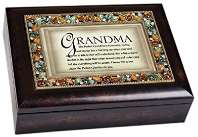The Perfect Grandma Italian Style Burlwood Finish Decorative Jewel Lid Musical Jewelry Box - Plays Wind Beneath My Wings