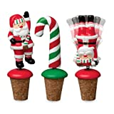 Boston Warehouse Candy Claus Bobble Bottle Stopper, Set of 3