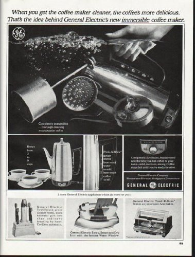 """1965 General Electric Ad """"Get The Coffee Maker Cleaner"""""""