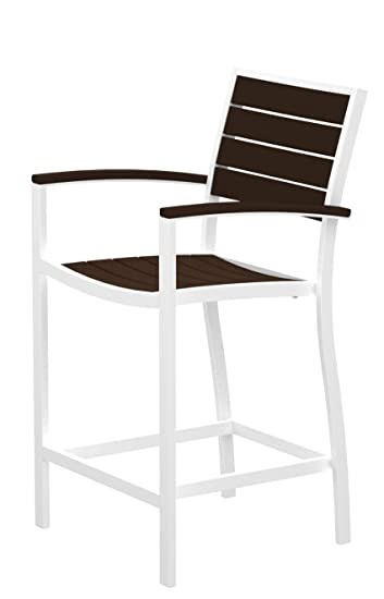 POLYWOOD A201-13MA Euro Counter Arm Chair, Satin White/Mahogany