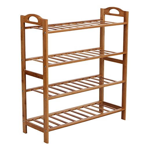 SONGMICS 100% Natural Bamboo 4-Tier Shoe Rack Entryway Shoe Shelf Storage Organizer ULBS94N (Shoe Boot Rack compare prices)