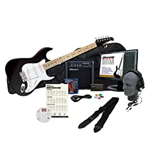 Silvertone SS10 Complete Electric Guitar Package with Instructional Software - Black