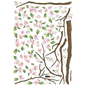 (20x28) Apple Cherry Blossoms Branch Repositional Wall Decal by Hyundae Sheet