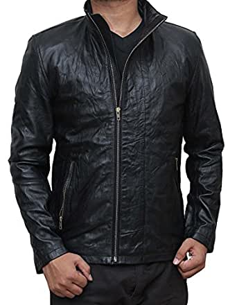Mission 5 Black Hooded Leather Jacket Men Casual Wear (XS)