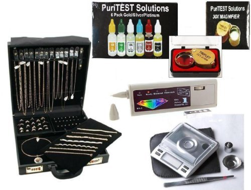 Leather Case Full Of Jewelry Testing Equipment Electronic Diamond Tester, Nitric Acids To Test Gold Silver Platinum, Plus Accessories