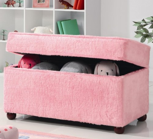 Kids Storage Bench In Fuzzy Pink Fabric Find Discount Tuan100408