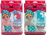 Turbie Twist Microfiber Super Absorbent Hair Towel (2 Pack) Flowers
