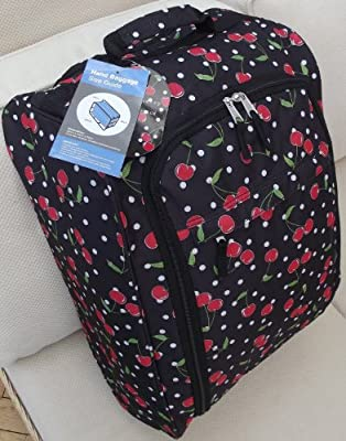 Small Travel Holdall Cabin hand carry on trolley Luggage Bag On Wheels Black with Red Cherrys flowers CABIN APPROVED