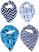 Baby Sonny Bandana Drool Bibs (4 Pack) Super Absorbent so Perfect for Teething,Fashionable Prints,Cute Unisex Gift.