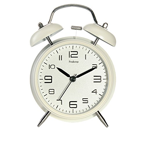 Peakeep 4″ Twin Bell Alarm Clock with Stereoscopic Dial, Backlight, Battery Operated Loud Alarm Clock