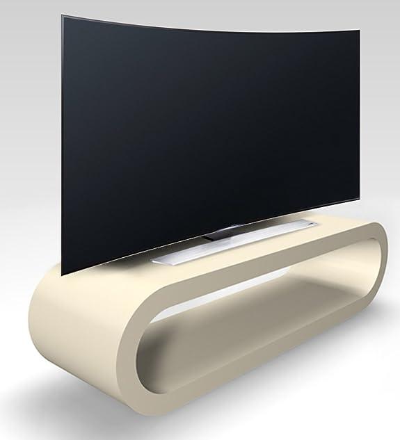 Design Retrò Stile Cerchio Grande Crema Larghezza Opaco Porta Tv / Armadietto 110 cm