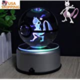 Halo Design Pokemon GO LED 3D Crystal Ball Night Light Lamp 7 Colors rotating base (Mewtwo)