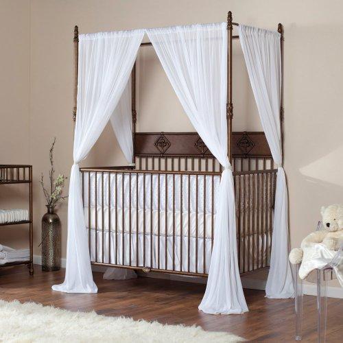 Bratt decor wrought iron indigo convertible canopy crib for Baby girl canopy cribs