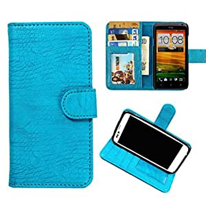 DooDa PU Leather Wallet Flip Case Cover With Card & ID Slots & Magnetic Closure For Lava Xolo Q1000 Opus (Baby Blue)