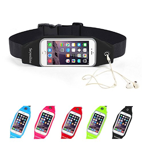 Running Belt, Se7enline Lightweight Touch Screen Compatible Sweatproof Large Capacity Daily Exercise Waist Pack Bag for iPhone 6/6S 5/5S 4.7 inches cell phone for Men and Women, Black