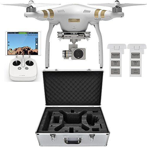 DJI Phantom 3 Professional Quadcopter Drone with 4K Camera + 3-Axis Gimbal Flight Bundle includes Drone, Aluminum Carrying Case and Spare Intelligent Flight Battery