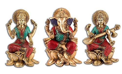 """9.5"""" Lakshmi Ganesh Saraswati Idol Brass Sculpture Ganesha Statue Diwali Decor Gift"""