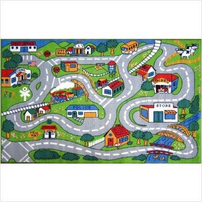 """Fun Time Country Fun Kids Road Rug Size: 3'3"""" x 4'10"""""""