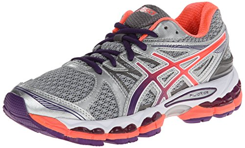 ASICS Women's Gel-Evate 2 Running Shoe,Titanium/Purple/Coral,8.5 M US
