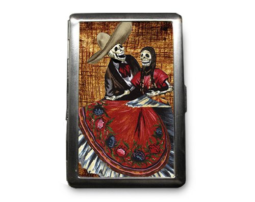 Day of the Dead Skeletons Decorated ID Cigarette Case Wallet - CD356