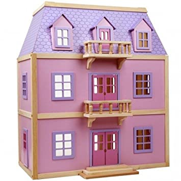 Melissa and doug - GRANDE Maison de poupées MEUBLÉE Jouet en bois 19 pièces inclus - rose et lilas -Dimensions : 62 x 71 x 39 cm