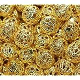 100 Pcs X 6Mm Gold Tone Filigree Beads Very Pretty!