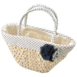 浴衣かごバッグ籠夏十色水玉白黒とうもろこし素材spo0044